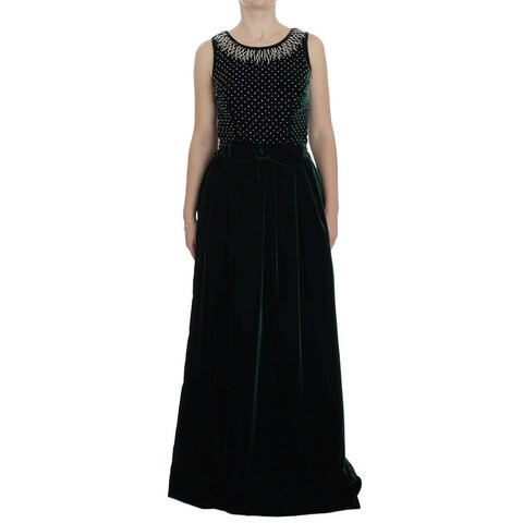 Dolce & Gabbana Dolce & Gabbana Green Velvet Crystal Long Maxi Dress