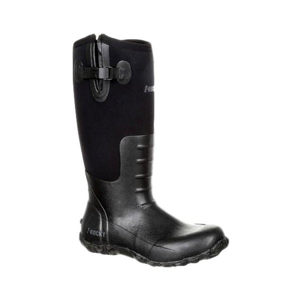 Rocky Outdoor Boots Mens Waterproof Round Rubber Black