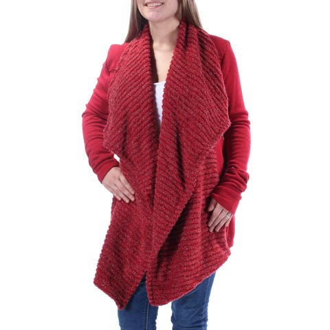 LUCKY BRAND Womens Red Long Sleeve Open Cardigan Trapeze Sweater Size: M