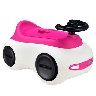 Costway Car-Shape Potty Training Seat Toddlers Toilet Detachable Non-Slip with Drawer - Pink