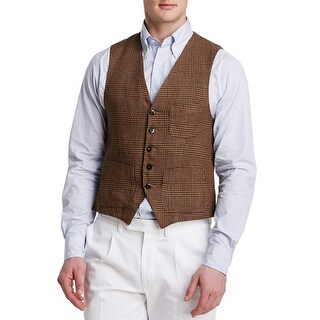 Man 1924 By Carlos Castillo Brown Prince of Wales Linen Vest 40 Regular 40R