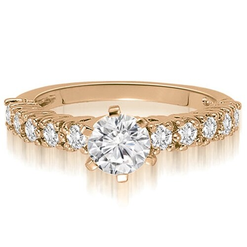 1.10 cttw. 14K Rose Gold Classic Basket Round Cut Diamond Engagement Ring