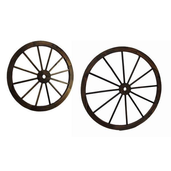 Shop Pair Of Wooden Wagon Wheel Decorative Wall Hangings 24 And 32