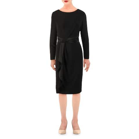 Lauren Ralph Lauren Womens Naty Wear to Work Dress Gathered Ruffled - Black