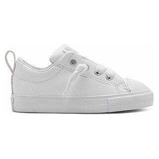Converse Kids Unisex Chuck Taylor All Star Street Leather (Infant/Toddler) White/White/White