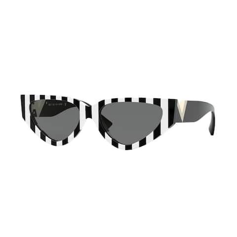 Valentino VA4063 514187 54 Stripes White Black Woman Irregular Sunglasses