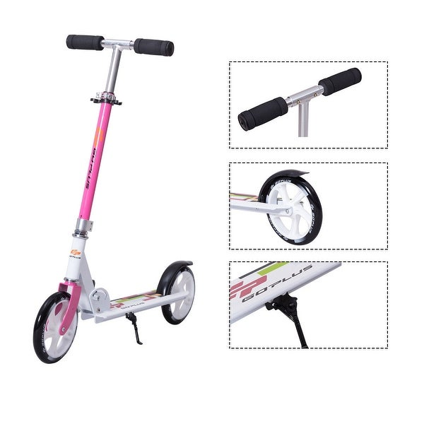 Goplus Foldable Aluminum Adults Kids Kick Scooter Height Adjustable w Kickstand Pink