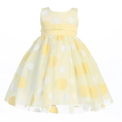 Baby Girls Yellow Glittered Polka Dot Tulle Easter Dress 3-24M