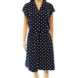 Lauren Ralph Lauren NEW Blue Women's Size 12 Polka-Dot Shirt Dress
