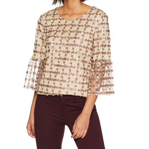 9aebe1c830 Calvin Klein Gold Womens Small S Embroidered Bell-Sleeve Blouse