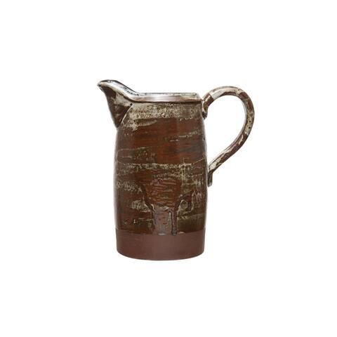 Decorative Stoneware Pitcher with Reactive Glaze