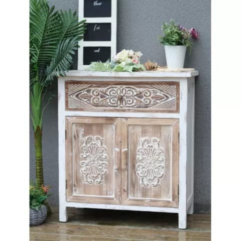 Vintage Accent Storage Chest with 1 Drawer and 2 Doors