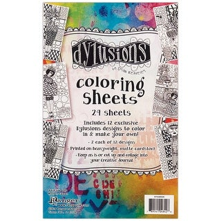 "Dyan Reaveley's Dylusions Coloring Sheets 5""X8""-2 Each Of 12 Designs"