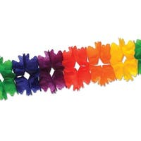 Club Pack of 12 Packaged Bright Rainbow Festive Pageant Garland Decorations 14.5'