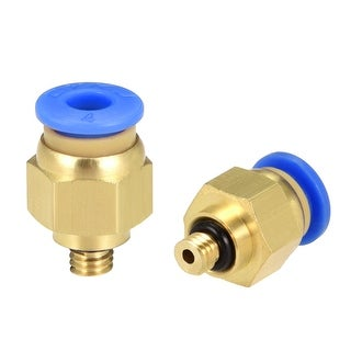 2 Pcs Pneumatic Straight Quick Fitting 4mm Thread M5 One Touch Hose Connector