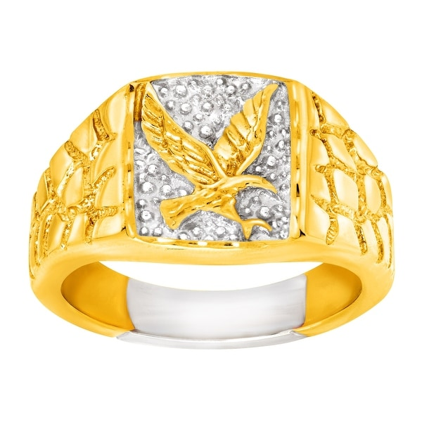 Men's Eagle Signet Ring in 14K Gold-Plated Sterling Silver - Two-tone