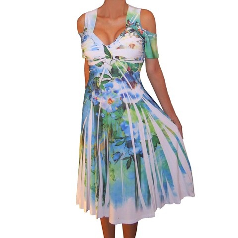 Funfash Plus Size Women Cold Shoulders White Floral Dress Made in USA
