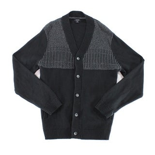 Alfani Deep Black Mens Size Medium M Colorblock Cardigan Sweater
