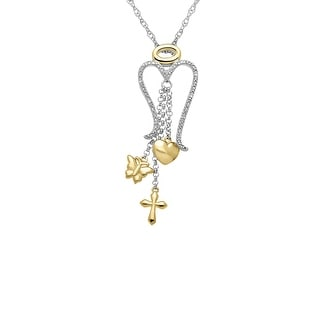 Angel Wings Pendant with Diamonds in Sterling Silver & 18K Gold