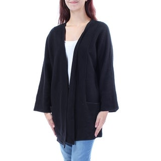 ALFANI $179 Womens New 1426 Black Pocketed Long Sleeve Vest Top M B+B