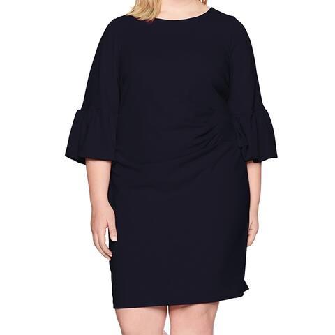 Jessica Howard Womens Dress Navy Blue Size 24W Plus Sheath Bell Sleeve