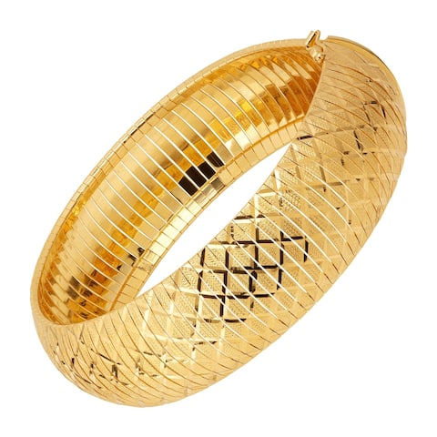 """Flexible Textured Bangle Bracelet in 14K Gold-Plated Bronze, 7.5"""" - Yellow"""