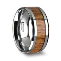 THORSTEN - TEKKU Wood Tungsten Ring with Polished Bevels and Teak Wood Inlay - 10 mm