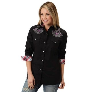 Roper Western Shirt Womens S/S Five Star Gray