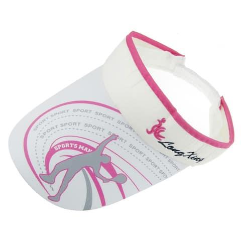 Unique Bargains Woman Loop Fastener Strap Jogging Headwear Sun Visor Cap Hat Fuchsia White - #7
