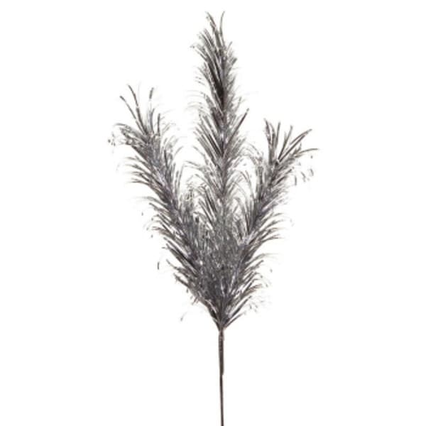 """Club Pack of 12 Decorative Artificial Silver Tinsel Feather Spray 28"""""""