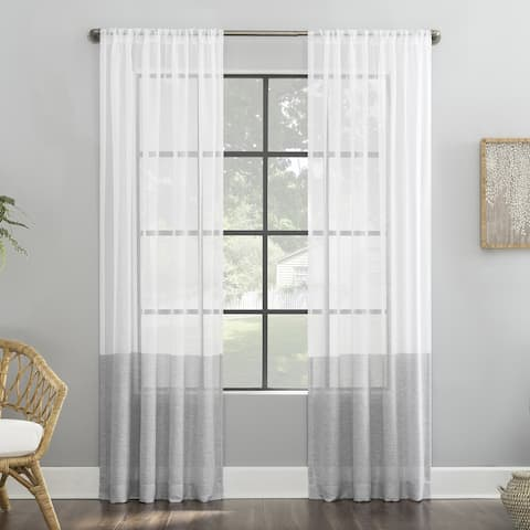 Clean Window Color Block Accent Anti-Dust Sheer Curtain Panel, Single Panel