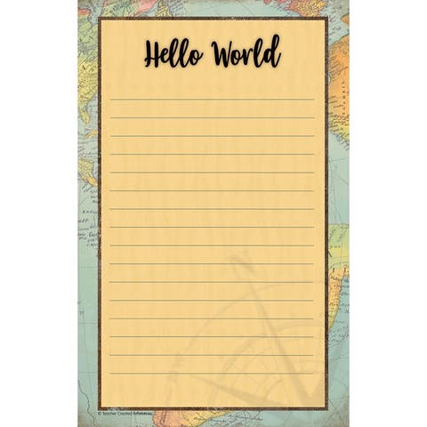 """Travel the Map Notepad, 5.25"""" x 8.5"""", 50 Sheets - One Size"""
