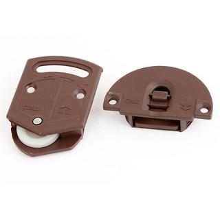 Hardware Furniture Burgundy Plastic Plate Wardrobe Sliding Door Roller 21mm Dia