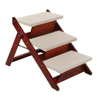 Pawriffic Folding Pet Steps Convertible to Ramp - Mobility Support for Dogs and Cats - Wooed with Mahogany Finish