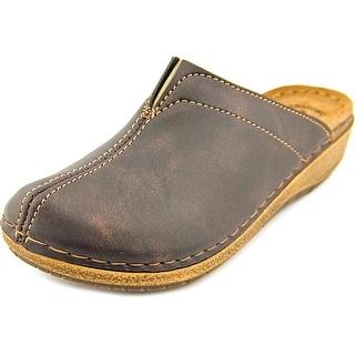 Flexus by Spring Step Cedarwood Round Toe Leather Mules