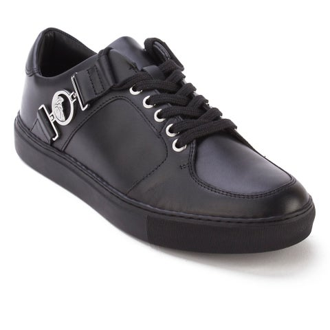 Versace Collection Men's Leather Medusa Logo Low Top Sneaker Shoes Black