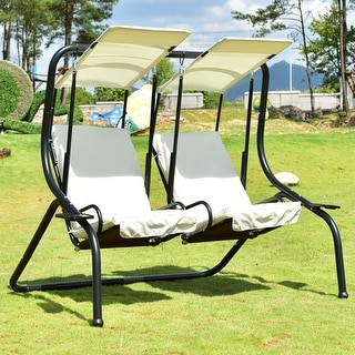 Costway 2 Person Swing Chair Porch Padded Loveseat Hammock Canopy Beige