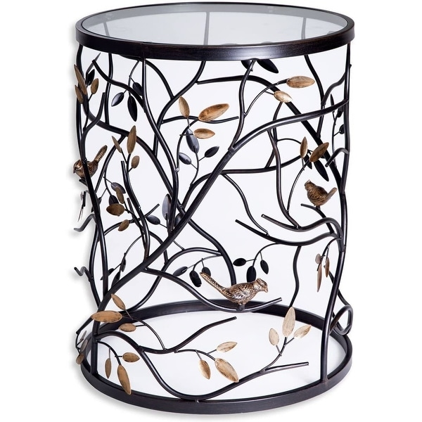 Palais Furnishings 'Feuilles' Metal Barrel End Table, Modern Round Side End Accent Table Living Room. Opens flyout.