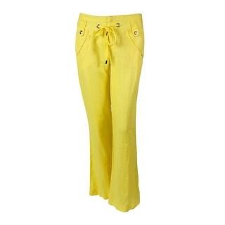 INC International Concepts Women's Regular Fit Linen Pants