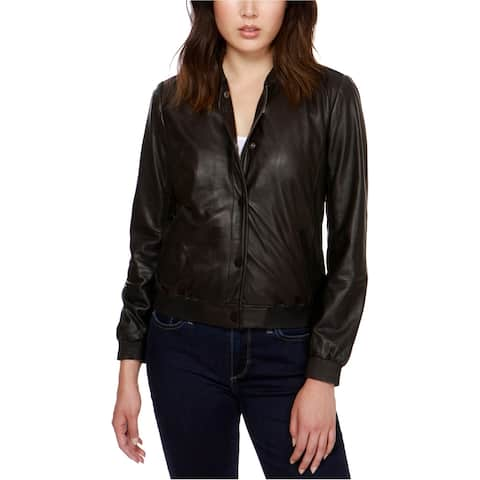 Lucky Brand Womens Leather Motorcycle Jacket, black, X-Large