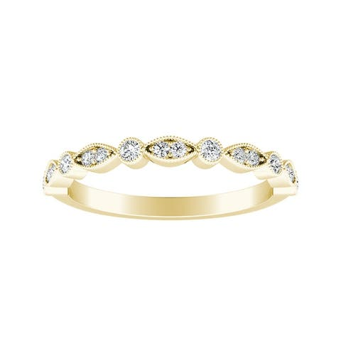 Auriya Stackable Vintage Milgrain 1/6ctw Diamond Wedding Band 14k Gold