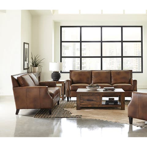 Leaton Brown Sugar Recessed Arms 2-piece Living Room Set