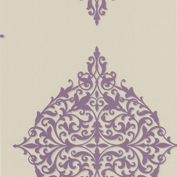 Brewster DL30622 Pastiche Purple Classical Motif Wallpaper - purple classical - N/A