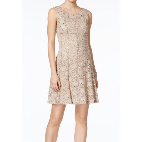 Connected Apparel Brown Womens Size 14 Sequin-Lace A-Line Dress