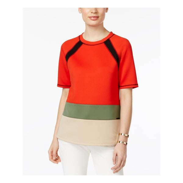 ANNE KLEIN Womens Green Color Block Short Sleeve Top Size L. Opens flyout.