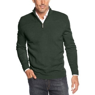 Geoffrey Beene Quarter Zip Mock Neck Sweater Hunter Green Heather Small S