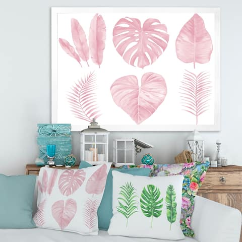Designart 'Tropical Pink Watercolour Leaves I' Shabby Chic Framed Art Print