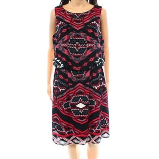 S.L. Fashions NEW Black Red Women's Size 14 Sheath Printed Dress