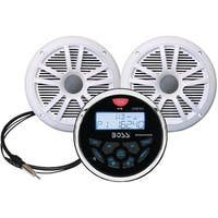 Boss Audio Mckgb350W.6 Marine-Gauge System With In-Dash Mechless Am/Fm Receiver, Speakers & Antenna (White Speakers)