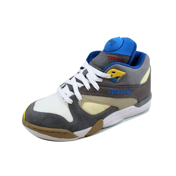 3446c2c3d5 Shop Reebok Men s Court Victory Pump Flat Grey Grey-Creme-Blue ...